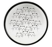 Keramická miska nízká, pro kočky s krátkým čumákem 0,3l/11 cm, černá/bílá