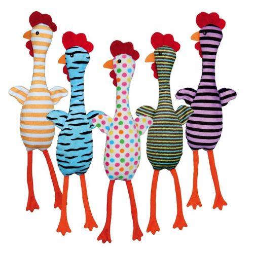 Plyšové kuře se zvukem, různé barvy a motivy, 48 cm