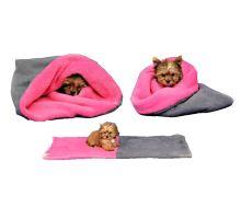 Pelíšek pro šťěňátka/koťátka - šedá/tmavě růžová