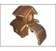Domek dřevěný s mostem 1ks VÝPRODEJ