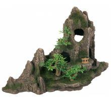 Dekorace skála + jeskyň a rostliny 27cm  VÝPRODEJ