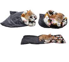 Pelíšek pro kočky XL - šedá/kočky