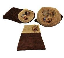 Pelíšek pro psy XL - DE LUXE - tmavě hnědá/béžová