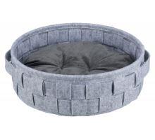 Kulatý pelech LENNIE propletený 45 cm šedý