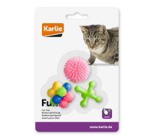 Karlie Hračka pro kočky gumová různé tvary různé barvy 3ks 4x4cm