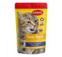 SANAL Cat Tasty Stars Poultry - hvězdičky s př. drůbeže 40 g exp.01/2019  VÝPRODEJ