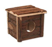 Domek SMALL ANIMAL dřevěný s kůrou 15,5 x 15,5 x 14 cm 1ks