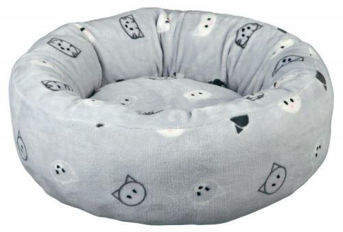 Kulatý pelíšek MIMI 50 cm světle šedá, motiv kočičí hlavy