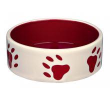 Keramická miska červená/krémová + motiv tlapky