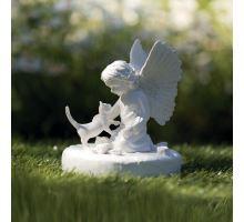 Náhrobní kámen kočka s andělíčkem, bílý 12 x 14 cm