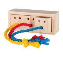 Hra pro králíky - dřevěná kostka na pamlsky 16x6x7 cm