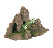 Dekorace skála + jeskyň a rostliny 22cm