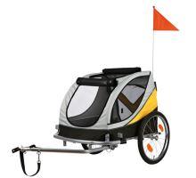 Vozík za kolo M  45x48x74cm do 30 kg šedo/žluto/černý