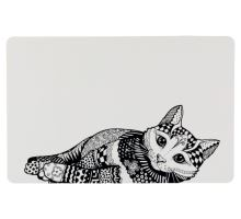 Prostírání Zentangle kočka 44 x 28 cm bílo/černé