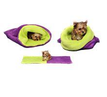 Pelíšek pro štěňátka/koťátka - fialová/světle zelená