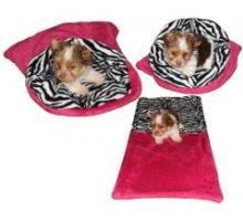 Pelíšek pro šťěňátka/koťátka - fuchsiová/zebra