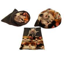 Pelíšek pro štěňátka/koťátka - šedá/kočka