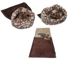 Marysa pelíšek 3v1 pro kočky, DE LUXE, tm. hnědý/kytičky, velikost XL