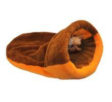Pelíšek 2v1 XL - s lemem - hnědá/oranžová