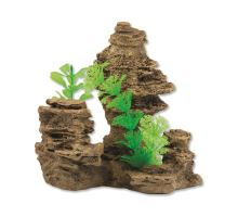Dekorace Skála s rostlinou 14 cm 1ks