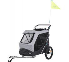 Vozík za kolo, s funkcí rychlého skládání L 74 x 95 x 103/143 cm šedý