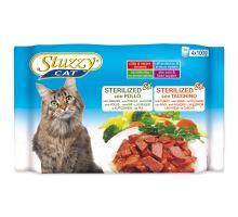 STUZZY Cat Sterilized kuřecí + krůtí multipack 400g