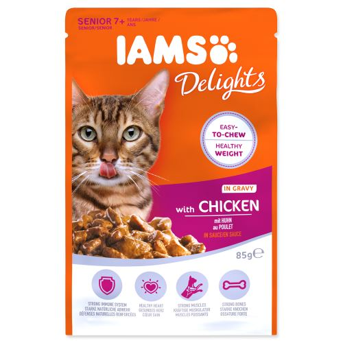 IAMS cat senior delights chicken in gravy 85g kapsička