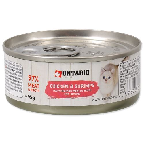 ONTARIO Kitten Chicken Pieces + Shrimp 95g