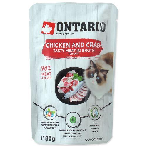 Kapsička ONTARIO Cat Chicken and Crab in Broth 80g