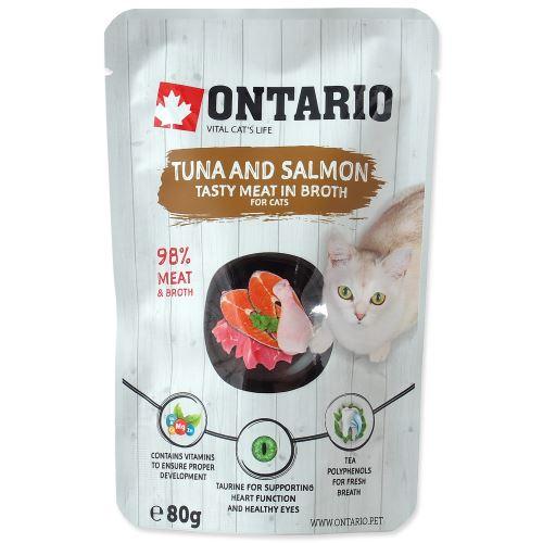 Kapsička ONTARIO Cat Tuna and Salmon in Broth 80g