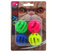 MAGIC CAT míček děrovaný plastový s rolničkou 3,75 cm 4ks