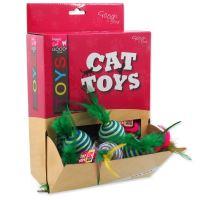 MAGIC CAT míček s pruhy a pírky bavlněný 4,5 cm 30ks