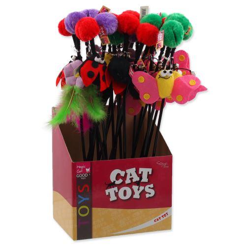 Hračka MAGIC CAT prut s bambulí a hračkou mix 6 cm + 45 cm 24ks