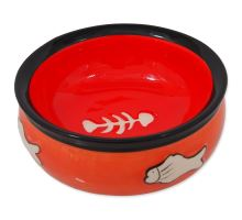 MAGIC CAT keramická miska s rybkou oranžová 12,5 cm 1ks