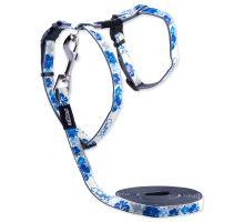 Postroj ROGZ s vodítkem GlowCat Blue Floral XS 1ks